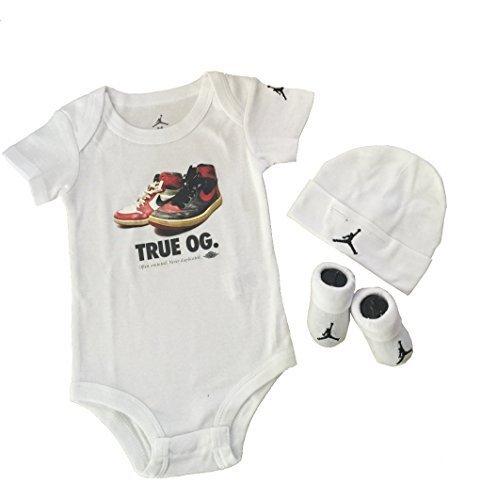 Nike Michael Jordan 23 Jumpsuit 3 pcs infant Layette Sets (WHITE & WHITE)