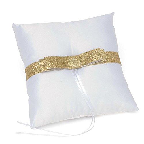 Gold Glitter Bow Ring Bearer Pillow