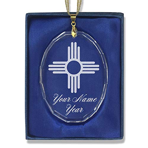 LaserGram Christmas Ornament, Flag of New Mexico, Personalized Engraving Included (Oval Shape) ()