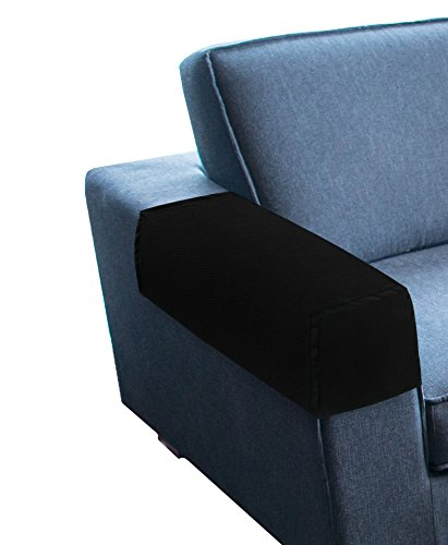 2 Arm Recliner (KLEEGER Premium Sofa Armrest Cover Set - Elastic Slipcovers For Couches, Armchairs & Recliners (Set Of 2) (Black))