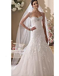 Floral Beaded Scallop Edge Cathedral Wedding Bridal Veil 224
