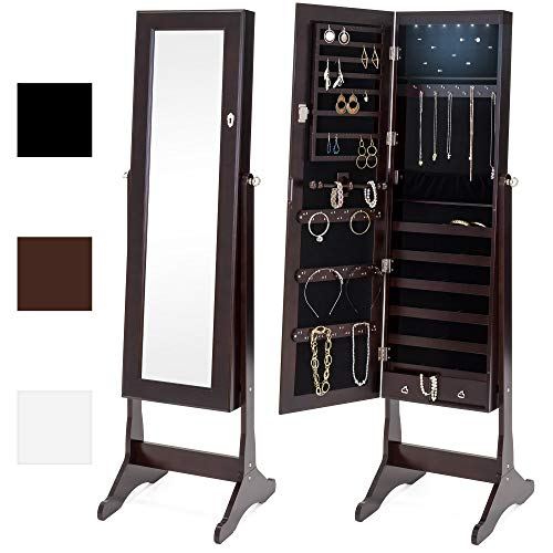- Best Choice Products 6-Tier Full Length Standing Mirrored Lockable Jewelry Storage Organizer Cabinet Armoire w/ 6 LED Interior Lights, 3 Angle Adjustments, Velvet Lining - Espresso