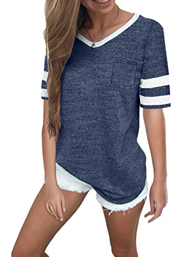 Twotwowin Women's Summer Tops Casual Cotton V Neck Sport T Shirt Short/Long Sleeve Blouse (Dark-Blue, - Striped Top V-neck Sleeve