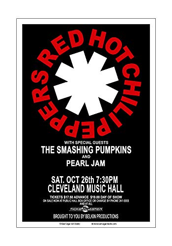Raw Sugar Art Studio Red Hot Chili Peppers/Pearl Jam/Smashing Pumpkins 1991 Cleveland Concert Poster