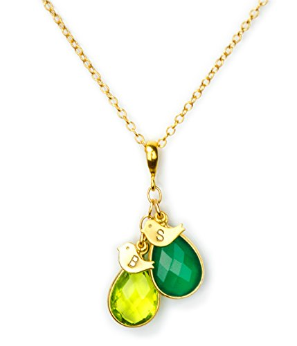 Gold Mothers Necklace with 2 Teardrop Birthstones and 2 Baby Bird Charms (Charm Birthstone Necklace)