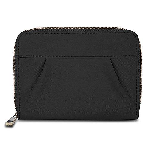 Travelon Signature Pleated Passport Wallet, Black, One Size
