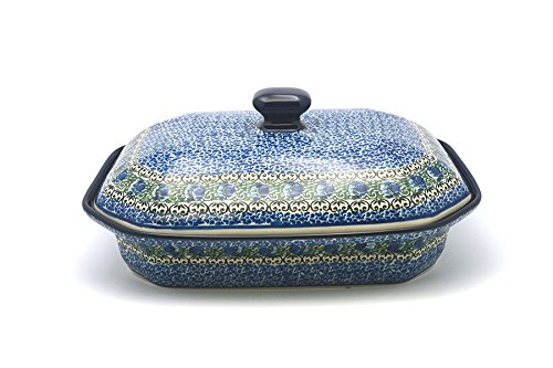 (Polish Pottery Baker - Rectangular Covered - Large - Peacock Feather)