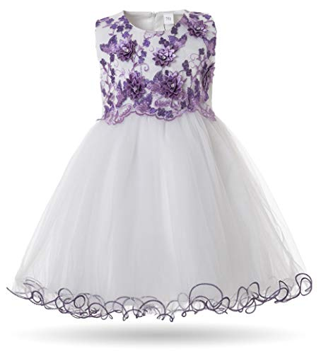 CIELARKO Baby Girls Dress 3D Flower Infant Christening Party Dresses for 0-24 Months (19-24 Months, Purple) -