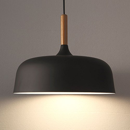 - E26/27 Modern Pendant Light Industrial Art Deco Ceiling Lighting Light Fixture Simple Nordic Style Hanging Lamp Shade 1 Light Fixtures for Dining Room Kitchen Island Hallway Shop (Wooden, Black)