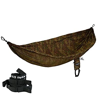 ENO DoubleNest Double Hammock With Slap Straps Camping - CamoNest XL Forest Camo