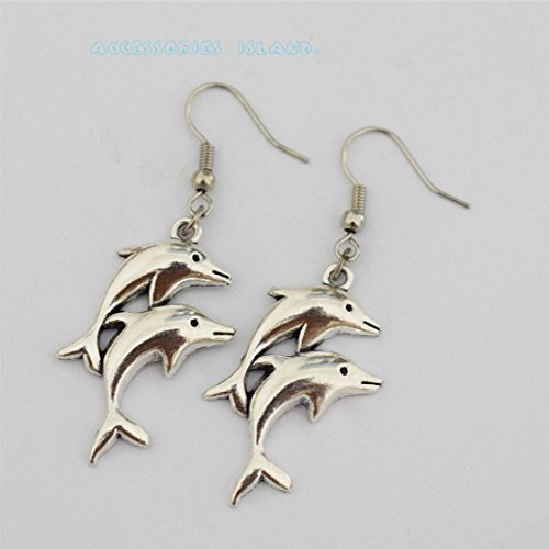 Jumping Dolphin Dangle - Silver Dolphin Earrings-antiqued Silver Jumping Dolphins, Mirror Image, Nautical Earrings, Dangle Earrings, Dolphin Dangle