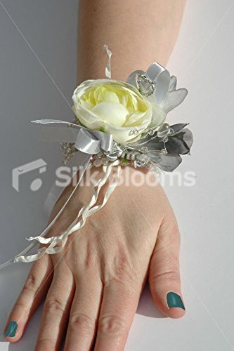 Unique Ivory Ranunculus & Grey Freesia Wrist Corsage & Crystals
