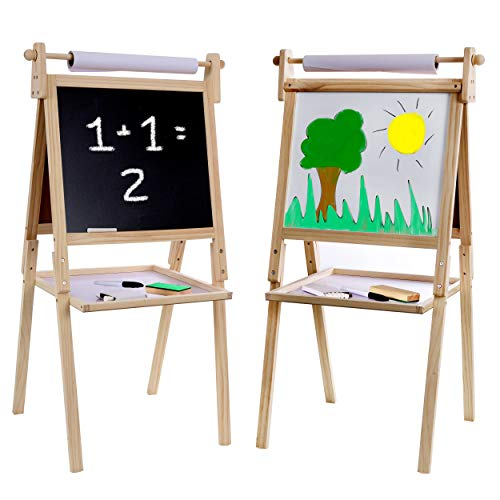 Kraftic Kid's Drawing Easel- Chalkboard, Magnetic Dry Erase Board and Paper Roll, with a Storage Tray on The Bottom ()