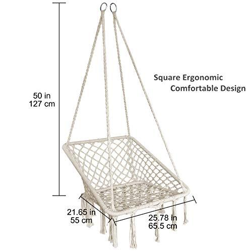 KINDEN Hammock Chair Macrame Swing – Square Ergonomic Comfortable Bohemian Design, Handmade Cotton Rope, Collapsible Easy to Install for Patio, Deck, Yard, Indoor Bedroom Garden Balconies US Patent