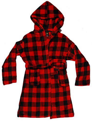 - Just Love Plush Velour Buffalo Plaid Robes for Girls 75606-10195-RED-10-12