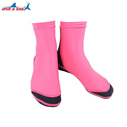 (ShiningLove Unisex Wetsuits Lycra 1.5mm Neoprene Water Socks Diving Scuba Surfing Socks Anti-slip Diving Fin Socks Women Red S (33-35))