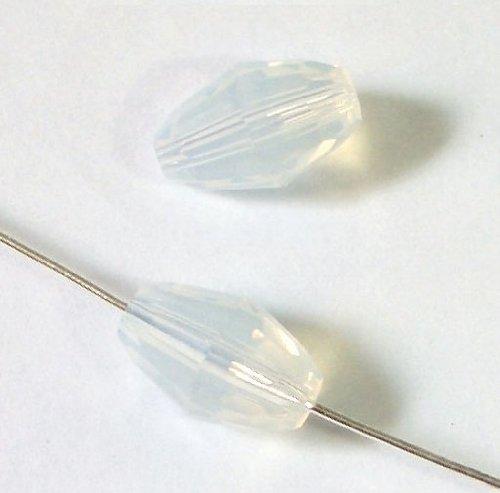 6 pcs Swarovski Crystal 5200 Olive Barrel Bead Spacer White Opal 9mm x 6mm / Findings / Crystallized Element