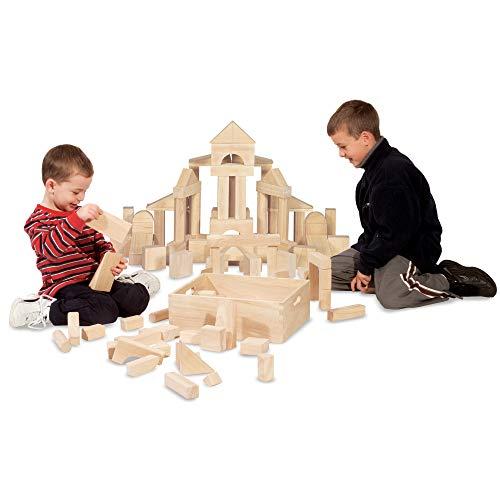 "41 afkLkeQL - Melissa & Doug Standard Unit Solid-Wood Building Blocks with Wooden Storage Tray, Developmental Toy, 60 pieces, 5.25"" H x 12.5"" W x 15"" L"