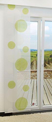 Schiebegardine von LYSEL® - Spheres halbtransparent mit Kreisen in den Maßen 245 cm x 60 cm grün