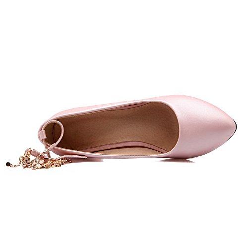 Allhqfashion Delle Donne A Punta Chiusa Con I Gattini Tacchi Fibbia Scarpe Piene-scarpe Rosa