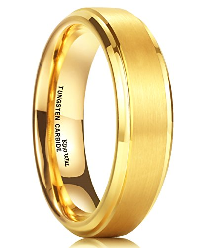 King Will Mens 6mm Matte Brushed Finish Tungsten Carbide Ring 24K Gold Plated Beveled Edge Wedding Band(10)