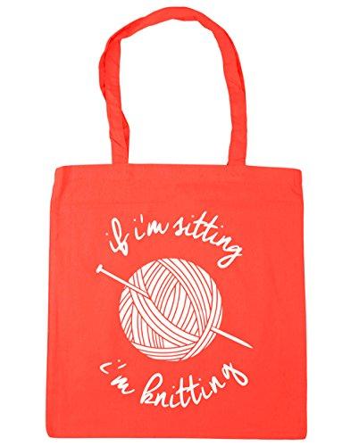 HippoWarehouse If I'm Sitting I'm Knitting Tote Shopping Gym Beach Bag 42cm x38cm, 10 litres Coral