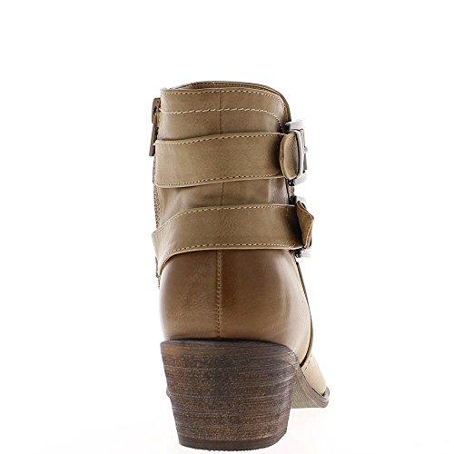 Bottines femme taupes à talon épais de 5cm look western