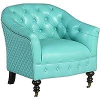 Abbyson Corrianna SK-3917-TQ Top Grain Tufted Chair, Turquoise