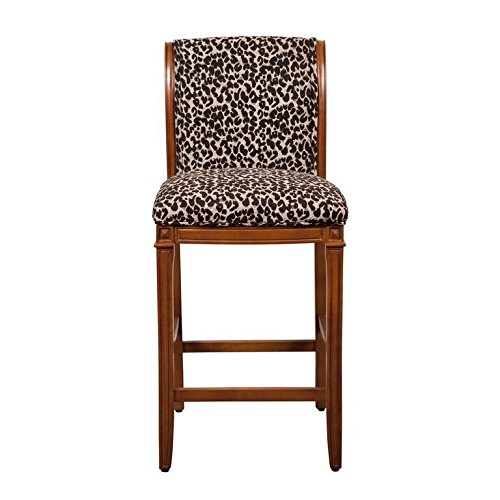 Kinfine Upholstered Barstool, Leopard Animal Print