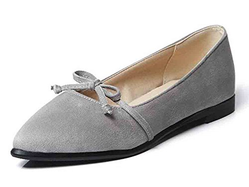Easemax Womens Comfy Faux Suede Bows Pointed Toe Low Top Flat Loafers Gray uL32z7CN