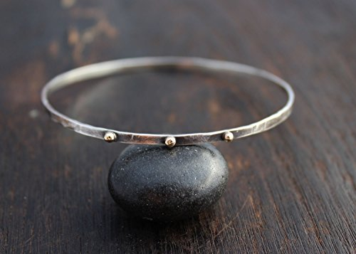 Silver And Gold Bangle Bracelet  Oxidized Silver Bangle With 14K Gold Dots