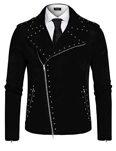 COOFANDY Men's Velvet Rivet Design Punk Rock Motorcycle Biker Jacket Zipper Coat(Black,L) by COOFANDY