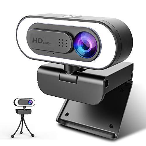 🥇 NIYPS Webcam PC con Microfono y Anillo de Luz