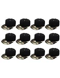 Plain en Blanco Flat Brim Adjustable Snapback Gorras de béisbol Wholesale Lot, Pack de 12Unidades