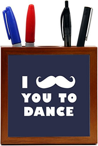 Rikki Knight I Mustache You To Dance Blue Color Design 5-Inch Tile Wooden Tile Pen Holder (RK-PH42949) by Rikki Knight