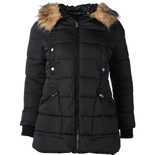 GUESS Womens Quilted Parka Coat Black XL (Guess Winter Coat)