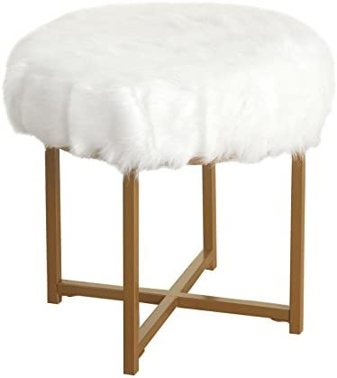 HomePop Round Faux Fur Stool