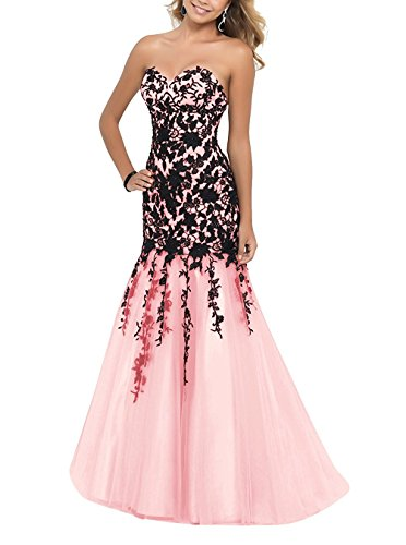 Women's Mermaid Prom Gowns Evening Dresses Sweetheart Fanciest Pink 2017 Appliques 7Bdpqpw