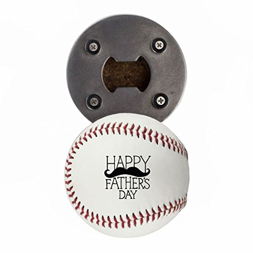 Baseball Bottle Cap (Father's Day Bottle Opener, Made from a real Baseball, Happy Father's Day, Cap Catcher, Fridge Magnet)