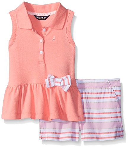 Nautica Big Girls' Knit Pique Polo with Seersucker Short and Bow Set, Soft Coral, 10