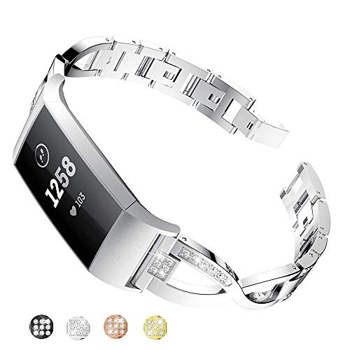 Taolla Compatible with Fitbit Charge 2 Bands Women, Elegant Stainless Steel Metal Replacement Bracelet Wristband X-Link Sport Smart Watch Strap + Bling Crystal Rhinestone Diamond for Fitbit Charge 2 Diamond Shaped Link Bracelet