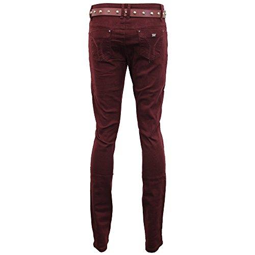 Con Donna Alta Pantaloni Aderente 163 Jeans Slim Vino Cintura Denim Vita Sbiadito w5qSI70xI