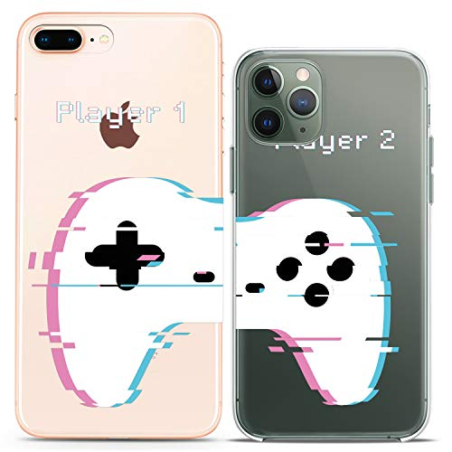 Cavka TPU Couple Cases for Apple iPhone 11 Pro Xs Max X Xr 8 Plus 7 6s SE 5s Game Clear Player Relationship Friend Girlfriend Matching Flexible Boyfriend Silicone Cover Anniversary Print Funny Cool