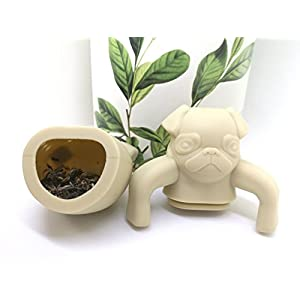 QOCOO 4 Pack FDA Standard Food Grade Silicone Tea Filter Cute and Funny Animal Pug Shape Tea Infuser Strainer for Mug or Cups to Make Loose Leaf Tea Bag Tea Green Tea Herbal Weight Loss Tea Beige