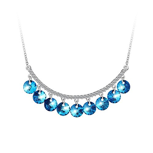 PLATO H Ocean Blue Drops Pendant Necklace Woman Girls Fashion Necklace Drop Dangle Hanging Round Necklace with Swarovski Crystals Fashion Jewelry Gift for Her, (Limited Crystal Drop)