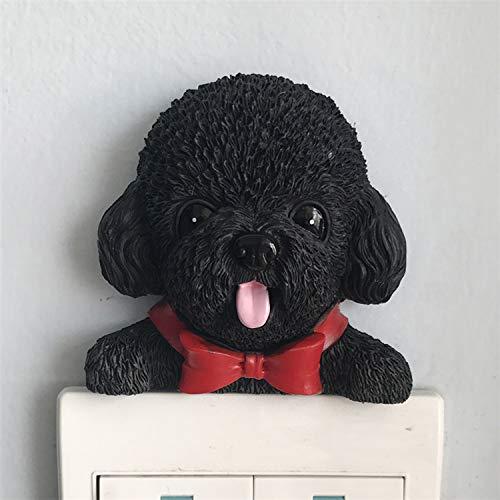 Black Poodle Pet Dog Stick-On Wall Light Switch Toy Figure Decorative -