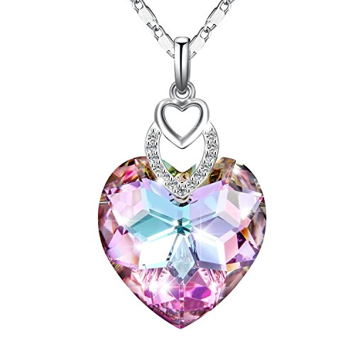 "Adan Banfi ""Oath of Love"" Purple Blue Love Heart Pendant Necklace Jewelry Made with Austrian Crystals, Ideal Gifts for Women Girls"