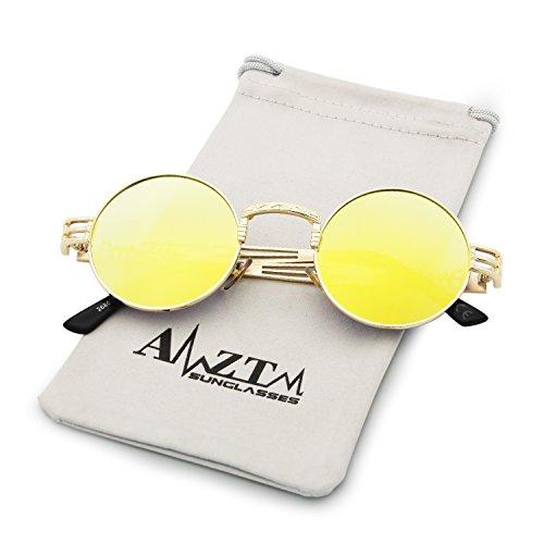 de Lente Gafas Marco AMZTM Dorado de de Gafas Vendimia Metal Redondo Marco Sol Amarillo Steampunk t6qZwdq1