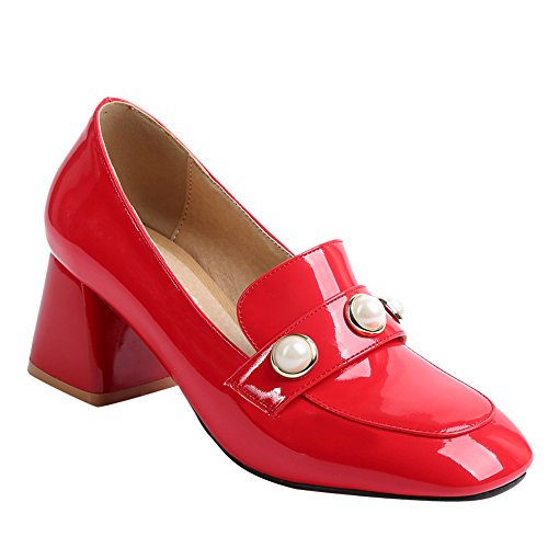 Latasa Kvinners Skinnende Beaded Tykk Loafers Røde