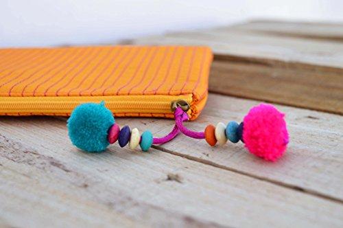 Arancione sacchetto, zip, make up o per cosmetici, borsello, trapuntato, in seta, Boemia